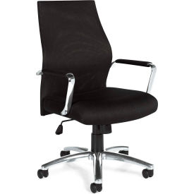 Offices To Go™ Mesh Managers Chair, Black Fabric Upholstery