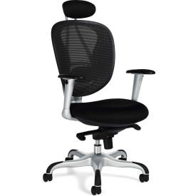 Offices To Go™ Mesh Executive Chair, Black Fabric Upholstery