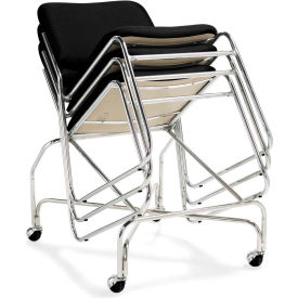 Offices To Go™ Armless Stack Chair, Black Fabric Upholstery - Pkg Qty 2