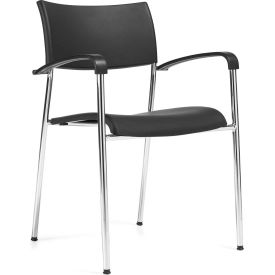 Offices To Go™ Stack Chair, Black Plastic Upholstery - Pkg Qty 4