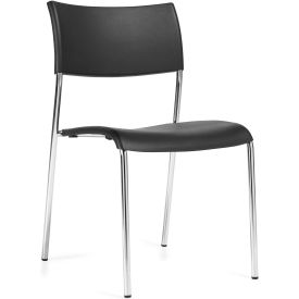 Offices To Go™ Armless Stack Chair, Black Plastic Upholstery - Pkg Qty 4