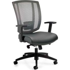 Offices To Go™ Upholstered Seat & Mesh Back Synchro-Tilter, Black