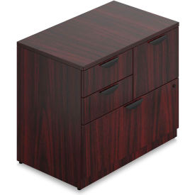 """Offices To Go™ - Mixed Storage Unit with Lock, 36""""W x 22""""D x 29-1/2""""H, Mahogany"""