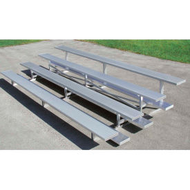 4 Row Universal Low Rise Tip and Roll Aluminum Bleacher, 15' Wide, Double Footboard
