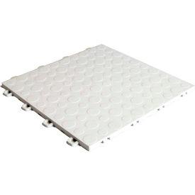 Block Tile B0US4130 Garage Flooring Interlocking Tiles, Coin Pattern, White