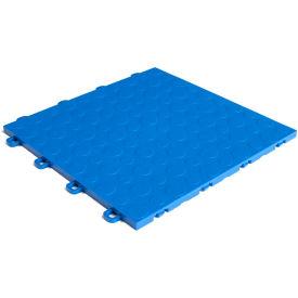 Block Tile B0US4530 Garage Flooring Interlocking Tiles, Coin Pattern, Royal Blue