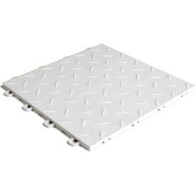 Block Tile B1US4127 Garage Flooring Interlocking Tiles, Diamond Pattern, White