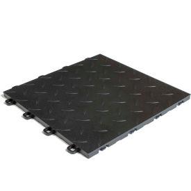 Block Tile B1US4227 Garage Flooring Interlocking Tiles, Diamond Pattern, Black