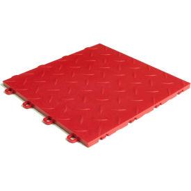 Block Tile B1US4327 Garage Flooring Interlocking Tiles, Diamond Pattern, Red