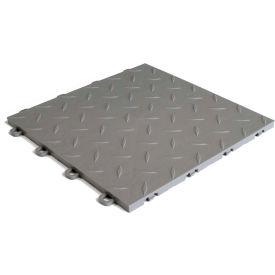 Block Tile B1US4627 Garage Flooring Interlocking Tiles, Diamond Pattern, Gray