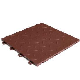 Block Tile B1US5227 Garage Flooring Interlocking Tiles, Diamond Pattern, Brown