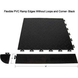 Block Tile F0US4206 Multi Purpose Flexible PVC Ramp Edges without loops, PVC Edges Pattern, Black