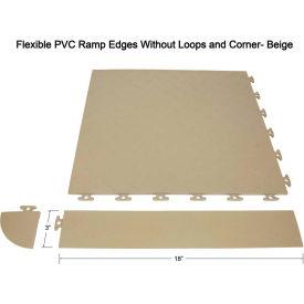 Block Tile F0US5106 Multi Purpose Flexible PVC Ramp Edges without loops, PVC Edges Pattern, Beige