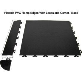 Block Tile F1US4206 Multi Purpose Flexible PVC Ramp Edges with loops, PVC Edges Pattern, Black