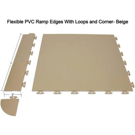 Block Tile F1US5106 Multi Purpose Flexible PVC Ramp Edges with loops, PVC Edges Pattern, Beige