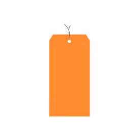 "#5 Orange Wired Tag Pack 4-3/4"" x 2-3/8"" - 1000 Pack"
