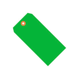 "#5 Green Fluorescent Tag Pack 4-3/4"" x 2-3/8"" - 1000 Pack"