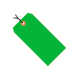 "#4 Green Fluorescent Strung Tag Pack 4-1/4"" x 2-1/8"" - 1000 Pack"