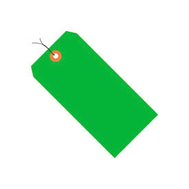 """#4 Green Fluorescent Wired Tag Pack 4-1/4"""" x 2-1/8"""" - 1000 Pack"""