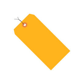 """#3 Orange Fluorescent Wired Tag Pack 3-3/4"""" x 1-7/8"""" - 1000 Pack"""