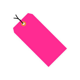 "#6 Pink Fluorescent Strung Tag Pack 5-1/4"" x 2-5/8"" - 1000 Pack"