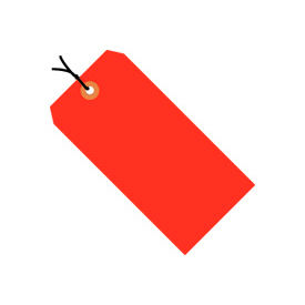 """#5 Red Fluorescent Strung Tag Pack 4-3/4"""" x 2-3/8"""" - 1000 Pack"""