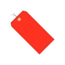 """#2 Red Fluorescent Wired Tag Pack 3-1/4"""" x 1-5/8"""" - 1000 Pack"""