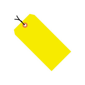 "#4 Yellow Fluorescent Strung Tag Pack 4-1/4"" x 2-1/8"" - 1000 Pack"