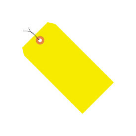 """#6 Yellow Fluorescent Wired Tag Pack 5-1/4"""" x 2-5/8"""" - 1000 Pack"""