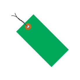 """#5 Wired Green Tyvek Tag 4-3/4"""" x 2-3/8"""" - 100 Pack"""