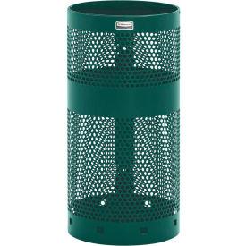 "Rubbermaid® H1N Towne Pole/Wall Mount Receptacle, Green, 10 Gallon, 12""Dia x 24""H"