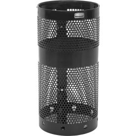 "Rubbermaid® H9N Towne Pole/Wall Mount Receptacle, Black, 22 Gallon, 15""Dia x 30""H"