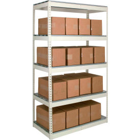 Rivetwell Dbl Rivet Boltless Shelving 72Wx30Dx120H 5 Levels Starter No Decking 1490LBS Shelf Cap Tan