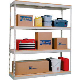 Rivetwell Dbl Rivet Boltless Shelving 96Wx18Dx84H 4 Levels Starter No Decking 1400 Lbs Shelf Cap Tan