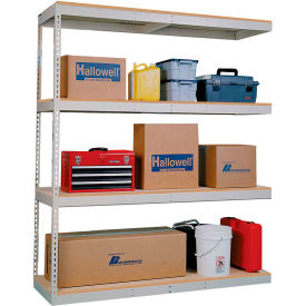 Rivetwell Dbl Rivet Boltless Shelving 48Wx36Dx84H 4 Levels Add-on No Decking 750 Lbs Shelf Cap Tan