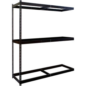 "Rivetwell Double Rivet Boltless Shelving 60""W x 18""D x 84""H 3 Levels Add-on W/O Decking Black"