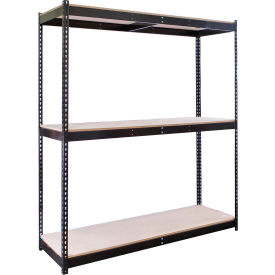 "Rivetwell Double Rivet Boltless Shelving 60""W x 18""D x 84""H 3 Levels Starter W/Wood Decking Black"