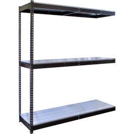 "Rivetwell Double Rivet Boltless Shelving 60""W x 36""D x 84""H 3 Levels Add-on W/EZ Decking Black"