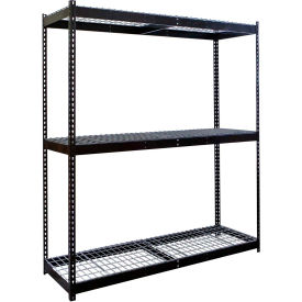 "Rivetwell Double Rivet Boltless Shelving 72""W x 18""D x 84""H 3 Levels Starter W/Wire Decking Black"