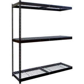 "Rivetwell Double Rivet Boltless Shelving 72""W x 30""D x 84""H 3 Levels Add-on W/Wire Decking Black"