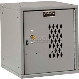 Hallowell HC121212 Cubix Modular Locker, w/built-in key lock 12x12x12 Perforated Door Platinum