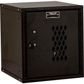 Hallowell HC121212-1DP-ME Cubix Modular Locker Padlockable 12x12x12 Diamond Perforated Door - Black