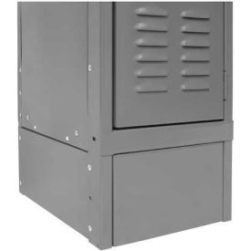 "Hallowell KCSB18HG Steel Locker Accessory, Closed Side Base 18""D x 6""H - Dark Gray"