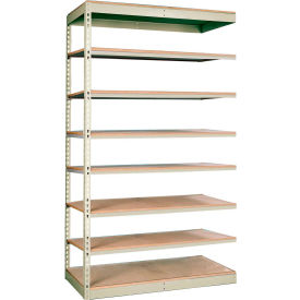 "Rivetwell Single Rivet Boltless Shelving 36""W x 18""D x 84""H 8 Levels Add-on W/O Decking Tan"
