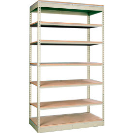 "Rivetwell Single Rivet Boltless Shelving 48""W x 24""D x 84""H 7 Levels Starter W/O Decking Tan"