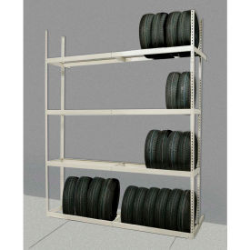 """Rivetwell Double Row Tire Storage Shelving 60""""W x 21""""D x 120""""H 4 Levels Starter Tan"""