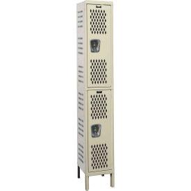 Hallowell U1518-2HV-A Heavy-Duty Ventilated Locker Double Tier 15x21x36 - 2 Doors Assembled - Tan