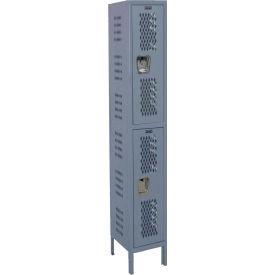 Hallowell U1888-2HDV Heavy-Duty Ventilated Locker Double Tier 18x18x36 2 Doors Unassembled Gray
