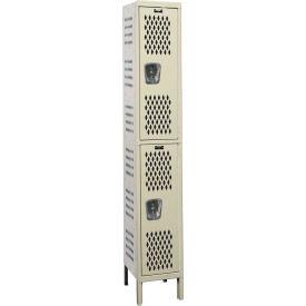 Hallowell U1888-2HDV Heavy-Duty Ventilated Locker Double Tier 18x18x36 - 2 Doors Unassembled - Tan