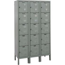 Hallowell U3256-5 Premium Locker Five Tier 12x15x12 15 Doors Ready To Assemble - Dark Gray